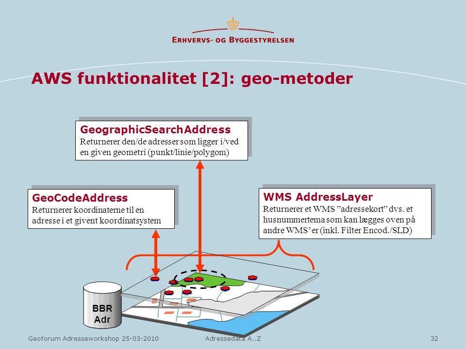 AWS funktionalitet [2]: geo-metoder